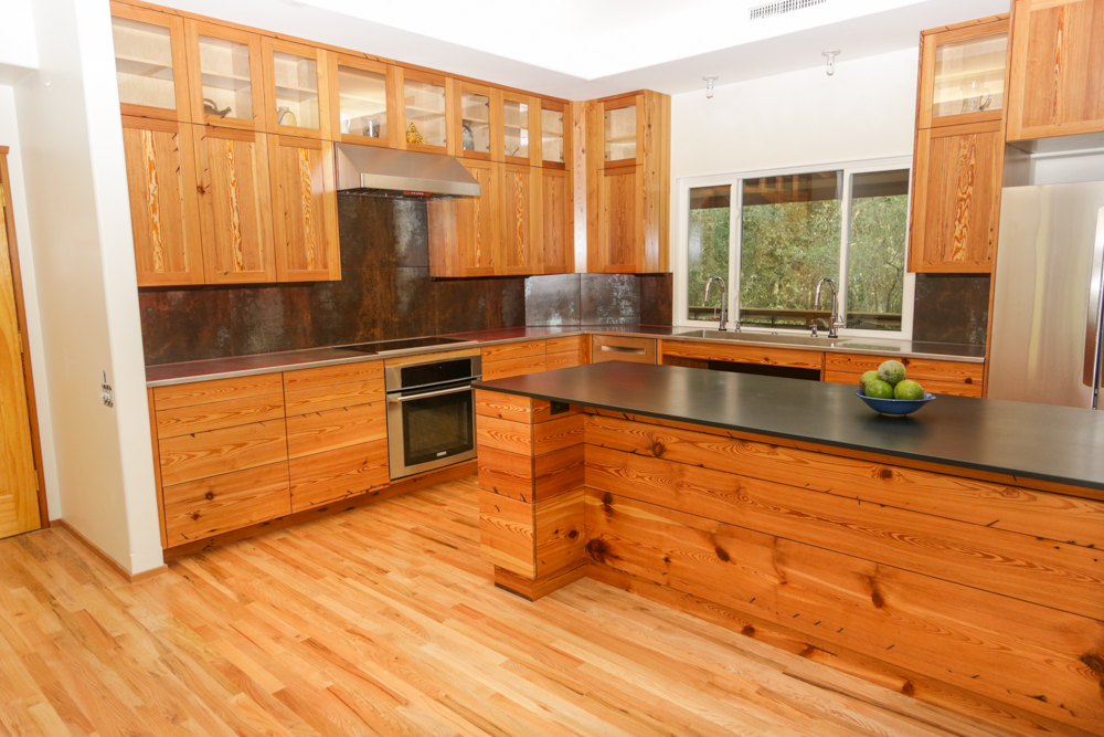 Heart Pine Custom Kitchen Cabinets
