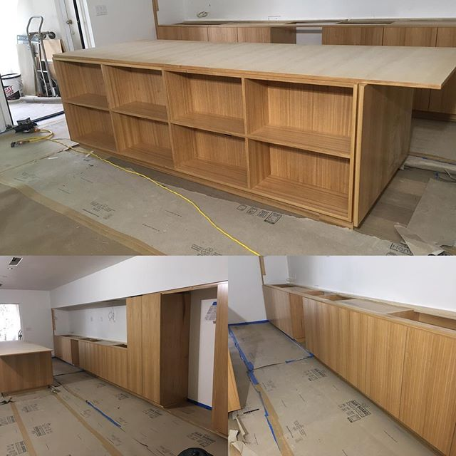 Custom Modern Red elm cabinets built and installed by a few swell guys @