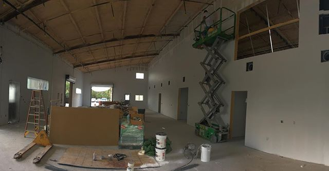 Walls are covered in plywood thats covered in gypsum thats covered in paint. Next, the ceiling..