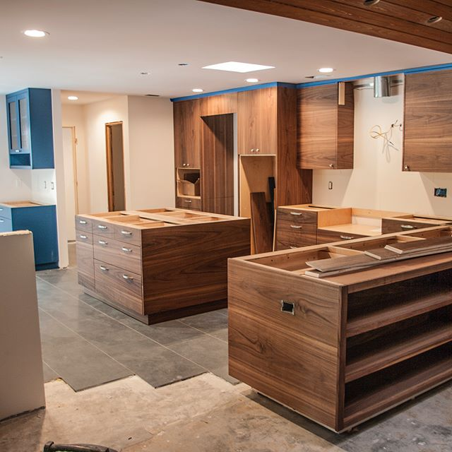 For that traditional modern look. Black walnut, hand rubbed oil, custom veneered flat sawn cabinetry. . . . . @atlanticdesignhomes